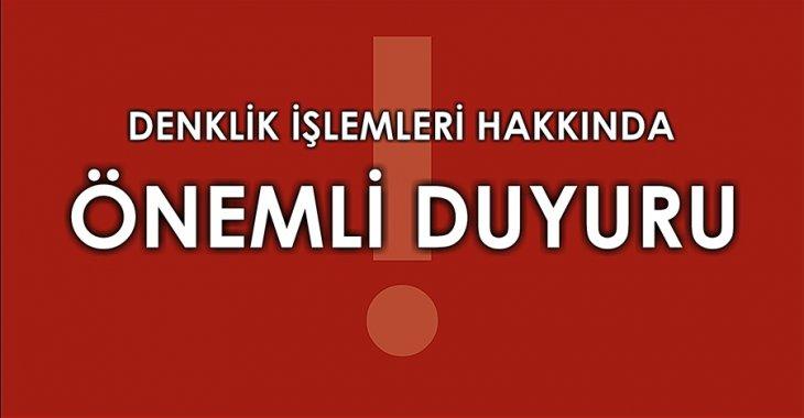 ANTRENÖR DENKLİK İŞLEMLERİ HAKKINDA!