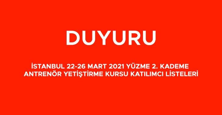 İSTANBUL 22-26 MART 2021 YÜZME 2. KADEME ANTRENÖR YETİŞTİRME KURSU KATILIMCI LİSTELERİ